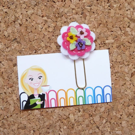 Planner Clips Felt Spring Flower by TheBookNookPatch on Etsy