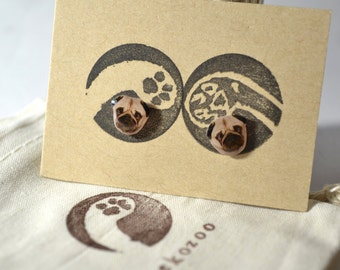 Pug earrings handmade Tiny jewelry with linen cotton bag
