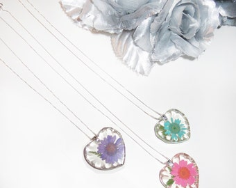 I Luv You Mum Sterling Silver Chrysanthemum Flower Necklace