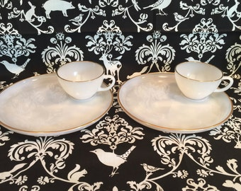 Set of Two Vintage Anchor Hocking Golden Veil Milkglass Luncheon/Snack Sets