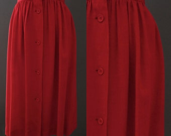 1970's Vintage Yves Saint Laurent Rive Gauche Designer Cherry Red Knee Length Skirt