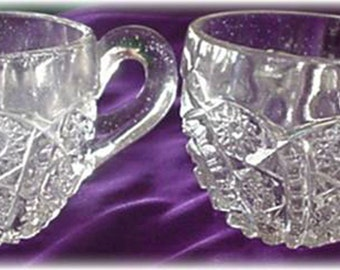 Imperial Hobstar and Arches Crystal Glass Punch Cups