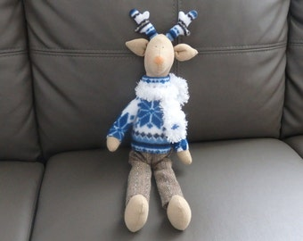 Deer Soft Toy. Tilda Stuffed Reindeer. Rug Elk Plushie.