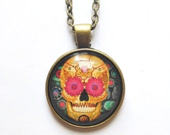 Sugar Skull Necklace + Free Shipping -  mandala necklace, day of the dead necklace, skull jewelry, day of the dead jewelry, unique necklace