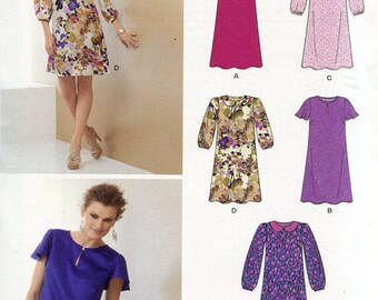 FREE US SHIP New Look 6068 Loose Fitting Dress Collar Variations Size 8/18 Out of Print Sewing Pattern Bust  30 31 32 34 36 38 40