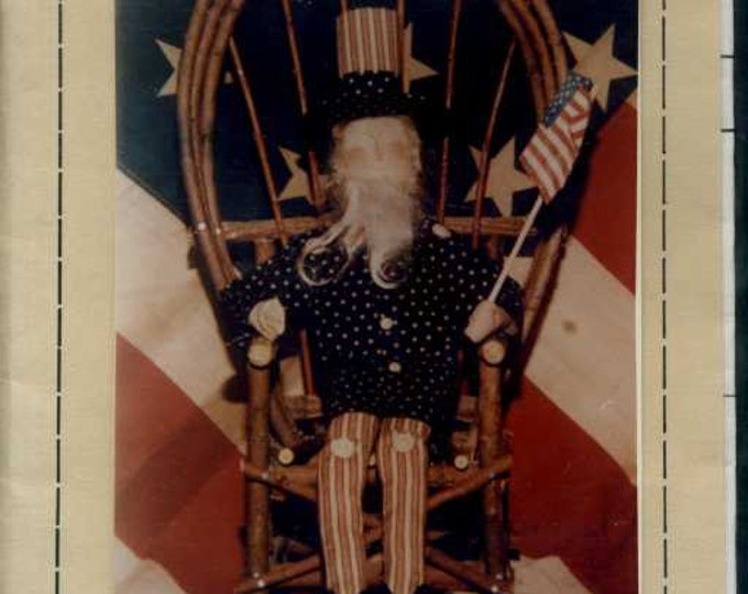 "FREE US SHIP Never a Dull Needle 14"" Uncle Sam 4th of July doll Sewing Pattern Out of Print"
