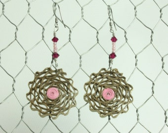 Round cardboard earrings