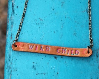 """Leather """"Wild Child"""" Necklace Southwestern, Western, Bohemian Handcrafted Leather Jewelry"""