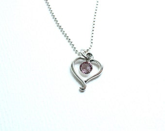 Heart Necklace / Open Heart/ Thinking Of You / Birthday/Heart Charm/ Gift for Her/ Christmas Gift Under 20