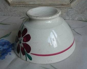 Vintage Café au Lait Bowl, French Breakfast Bowl, Red Flower Design,