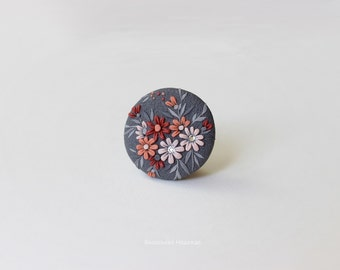 Warm autumn--Jewelry- Pendants -Polymer Clay- Flower-Gray-pink-vinous