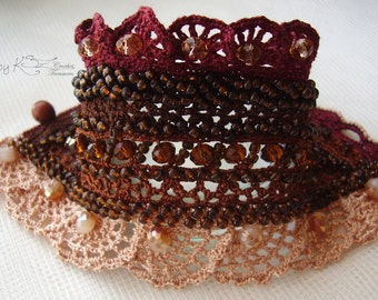 Crochet cuff, Brown crochet cuff, Crochet cuff bracelet, Statement cuff, Brown Aventurine cuff, Crochet lace cuff, Bead embroidered bracelet