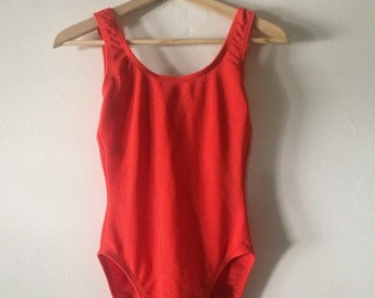 Burnt Orange Ribbed One Piece