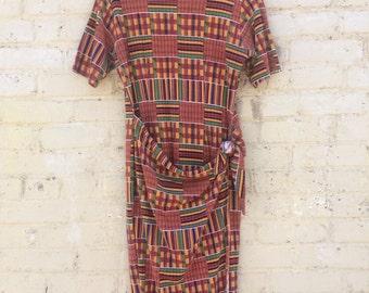 Long Tribal Wrap Dress