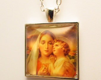 Madonna and Child Pendant, Virgin Mary and Jesus Pendant, Glass Photo Pendant, Christian Pendant, Christian Necklace, Catholic Art Pendant