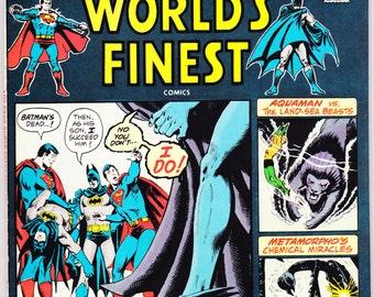 Worlds Finest 228 comic. Aquaman, Metamorpho, Superman, Batman book, 100 Page Giant. World's Vintage, art. 1975 DC Comics in VFNM (9.0)