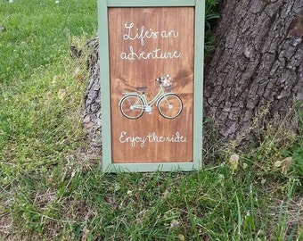 Life's an adventure. Enjoy the ride - Handpainted sign