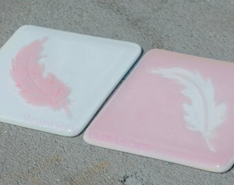 Feather Tiles Coasters in a choice of pink or blue - Fused Glass Drink Mats