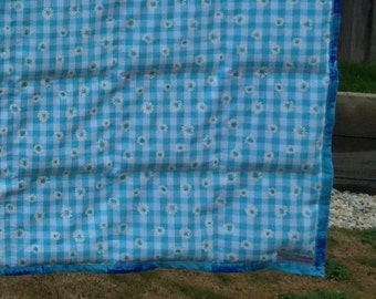 Weighted Blanket, Blue gingham and flower pattern, poly pellets only | Ready to Ship | Handmade in Australia
