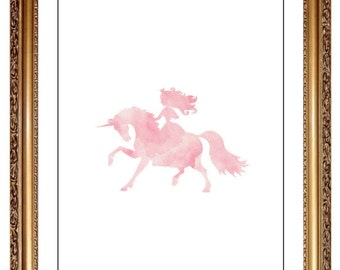Princess Unicorn Print, DIY Printable Pink Watercolor  Princess on Horse Unicorn Print Art Wall Decor, Girls Nursery Pink, Fairy Tale Prints