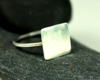 Small Square Ring, Sterling Silver Ring, Gift Ideas, Statement Ring, Minimal, Modern, Square, Birthday Gift Ideas