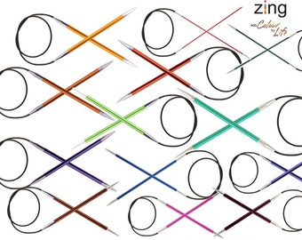 "150cm 60"" ZING Fixed Circular Needles by KnitPro (coloured, select from 13 sizes)"