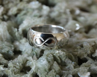 Silver infinity symbol ring band love ring