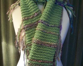 Hand knit fringed scarf/wrap
