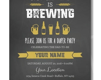 Diaper Party Invite, Baby Is Brewing Invite, Beer Diaper Party Invite, Customized, Printable
