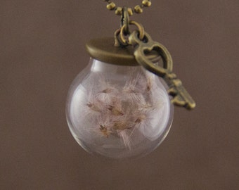 """Glass Globe Necklace """"Petula"""" with Pink Dandelions"""