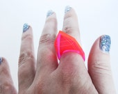 Fluorescent Pink Geometric Ring, Laser Cut Acrylic, Neon Jewelry, Statement Ring, Futuristic Jewelry