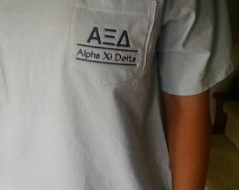 Alpha Xi Delta, Sorority T Shirt, Greek Letter shirt, Pocket T Shirt, Monogrammed Pocket T, Personalized T Shirt