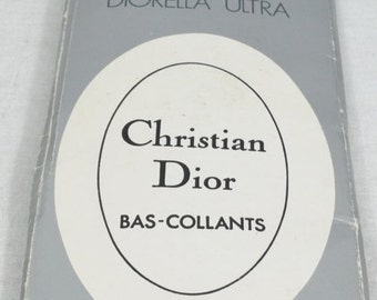 Vintage Tights by Christian Dior Bas-Collant Diorella Ultra Evergreen tights 15 Denier Plain Knit One Size - Never Worn - Free Postage
