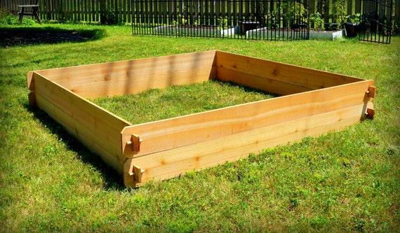 Cedar raised garden bed deep gardening kit double 6x6 for How deep should a raised vegetable garden be