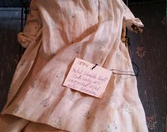 Reduced Antique 1894 German Metal Shoulder Doll Cloth Body Alfred Heller Antique Metal Bed
