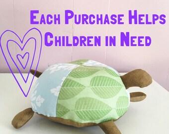 Baby Boy Toy, Stuffed Turtle, Cotton Plush, Green and Brown Turtle, Turtle Nursery