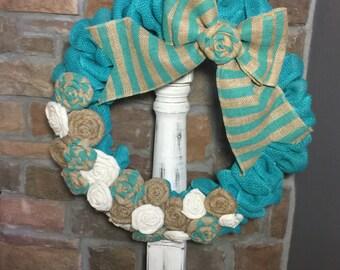 Aqua Teal Burlap Rosette Wreath
