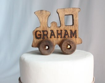 Old-fashioned Wood Toy Engine Train with Name Cake Topper, Personalized, Toy, Vintage Look, Varnish, Over The Top Cake Topper, Engraved