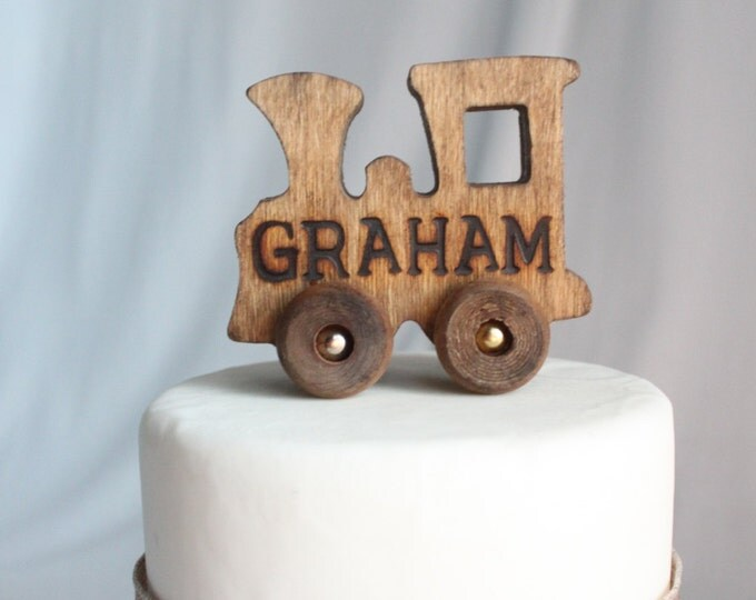 Featured listing image: Old-fashioned Wood Toy Engine Train with Name Cake Topper, Personalized, Toy, Vintage Look, Varnish, Over The Top Cake Topper, Engraved