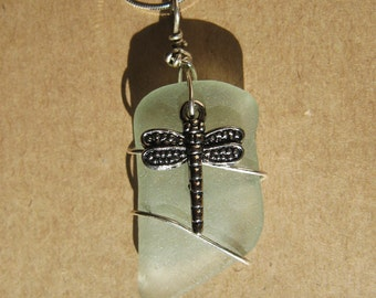 Seafoam Green Sea Glass Necklace/Pendant/Dragonfly/Sterling Wire Wrapped/Jewelry/Urban Boho/Maine Surf Tumbled