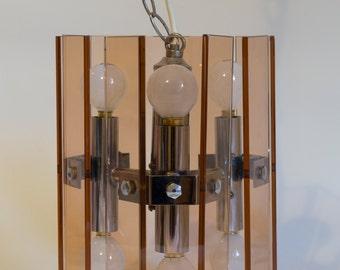 1970s Fontana Arte style smoked glass and chrome chandelier light vintage