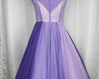 Purple Ombre Hues 1950's Rhinestone Studded Chiffon Party Dress
