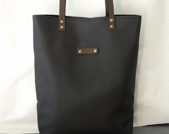 Black vegan leather tote bag.school bag,carry tote bag