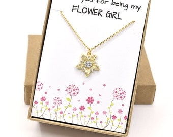 Flower Girl Gold Necklace Thanks for Being My Flower Girl Flower Girl Gift