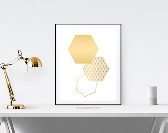 Gold Hexagon Print, Geometric Poster, Hexagon Poster, Cadre, Typography Print, Printable Art, Hexagon Art, Instant Download, Christmas Gift