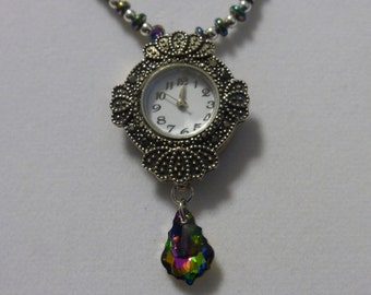 Vintage style clock necklace