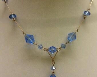 Antique Edwardian Vintage Blue Glass Necklace, Art Nouveau, Art Deco,