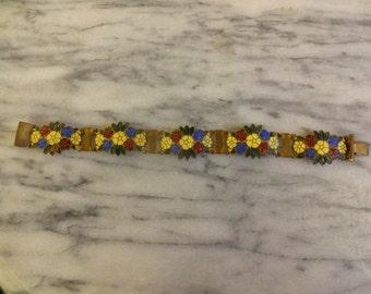 Art Deco Enamel Bracelet with flowers