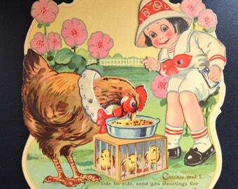 Mechanical Easter Card Die Cut Little Boy with Chicken