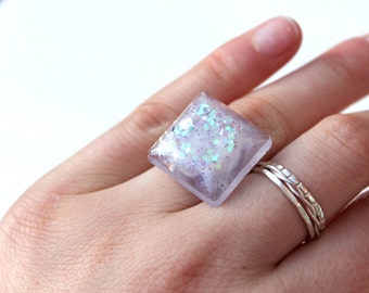 Glitter Ring - Square Ring - Resin Ring - Statement Ring - Adjustable Ring - Lilac Ring - Resin Jewellery
